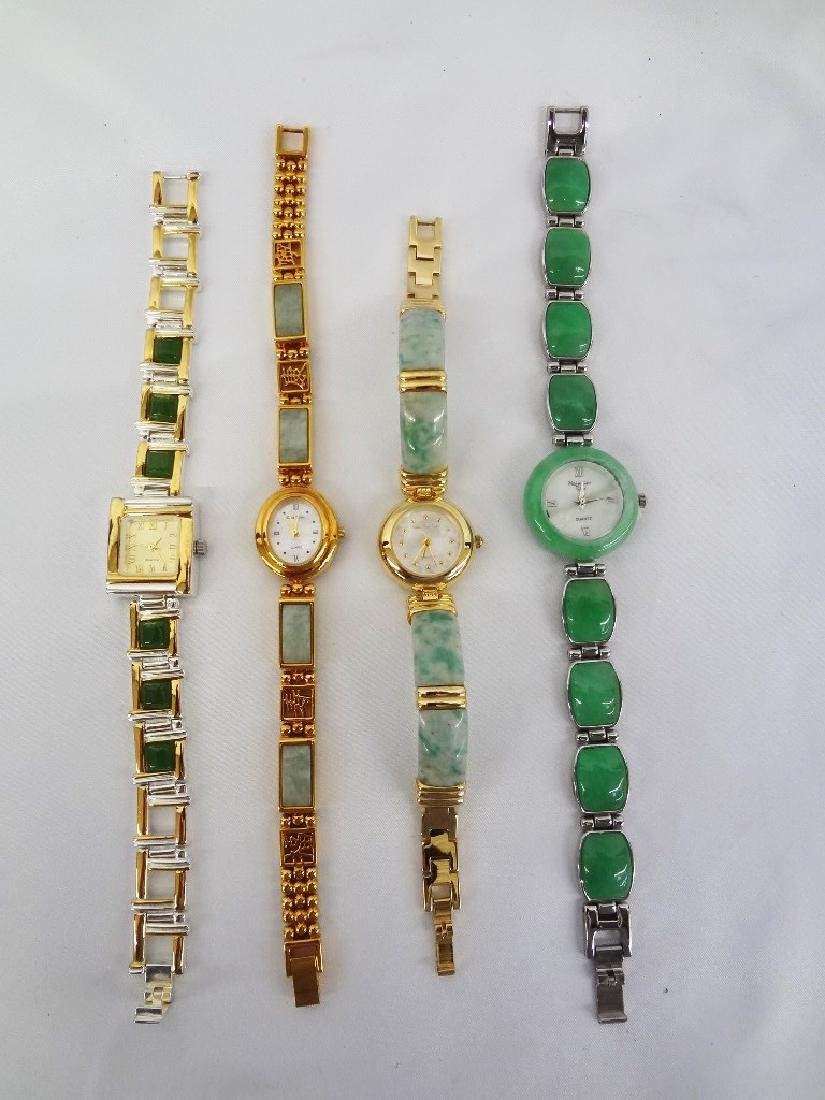 (4) Jade Watches: Sterling, Silver and Gold Tones