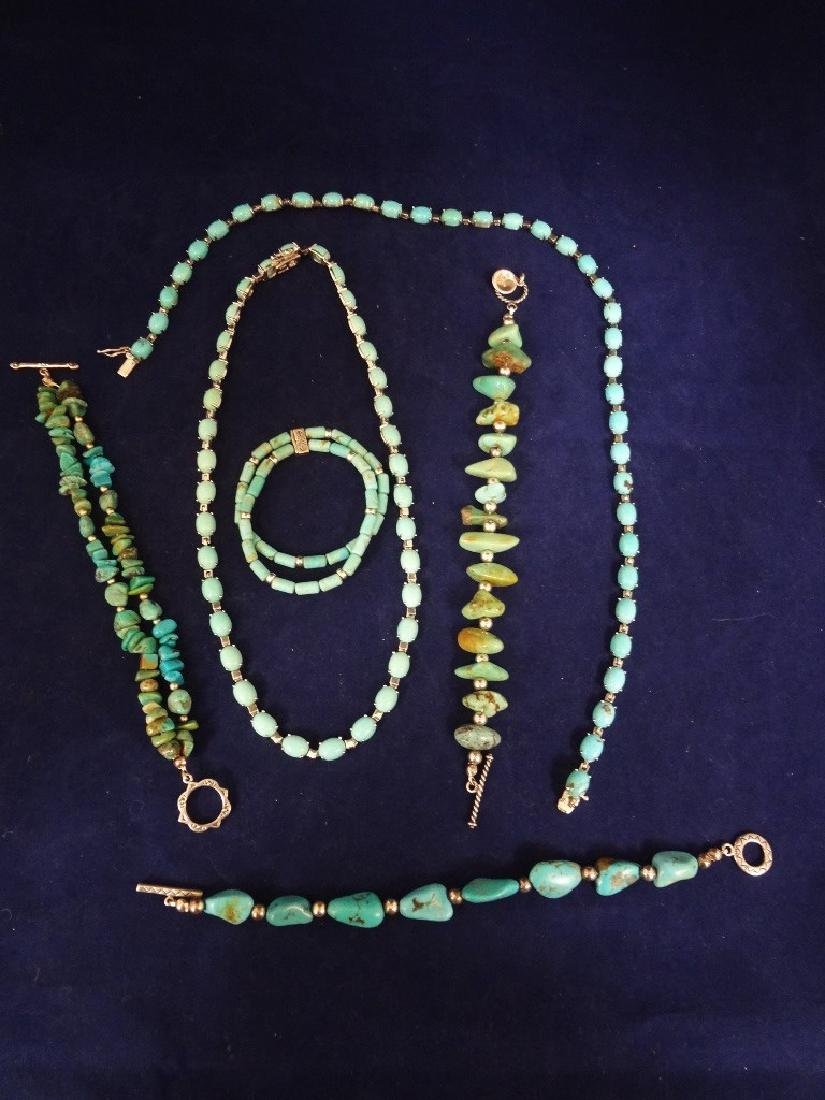Southwest Sterling Silver and Turquoise Group: 2