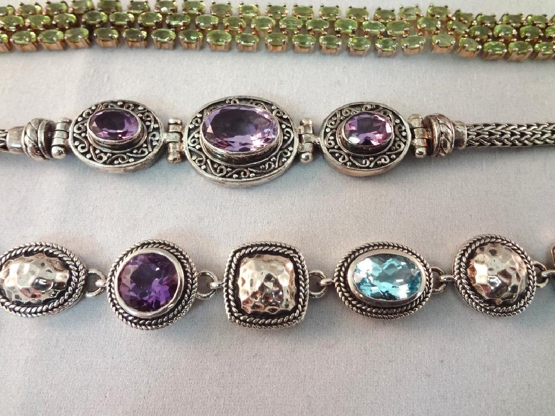 (5) Sterling Silver Tennis Bracelets with Amethyst, - 2