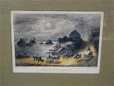 """Currier and Ives Hand Colored Lithograph """"California"""
