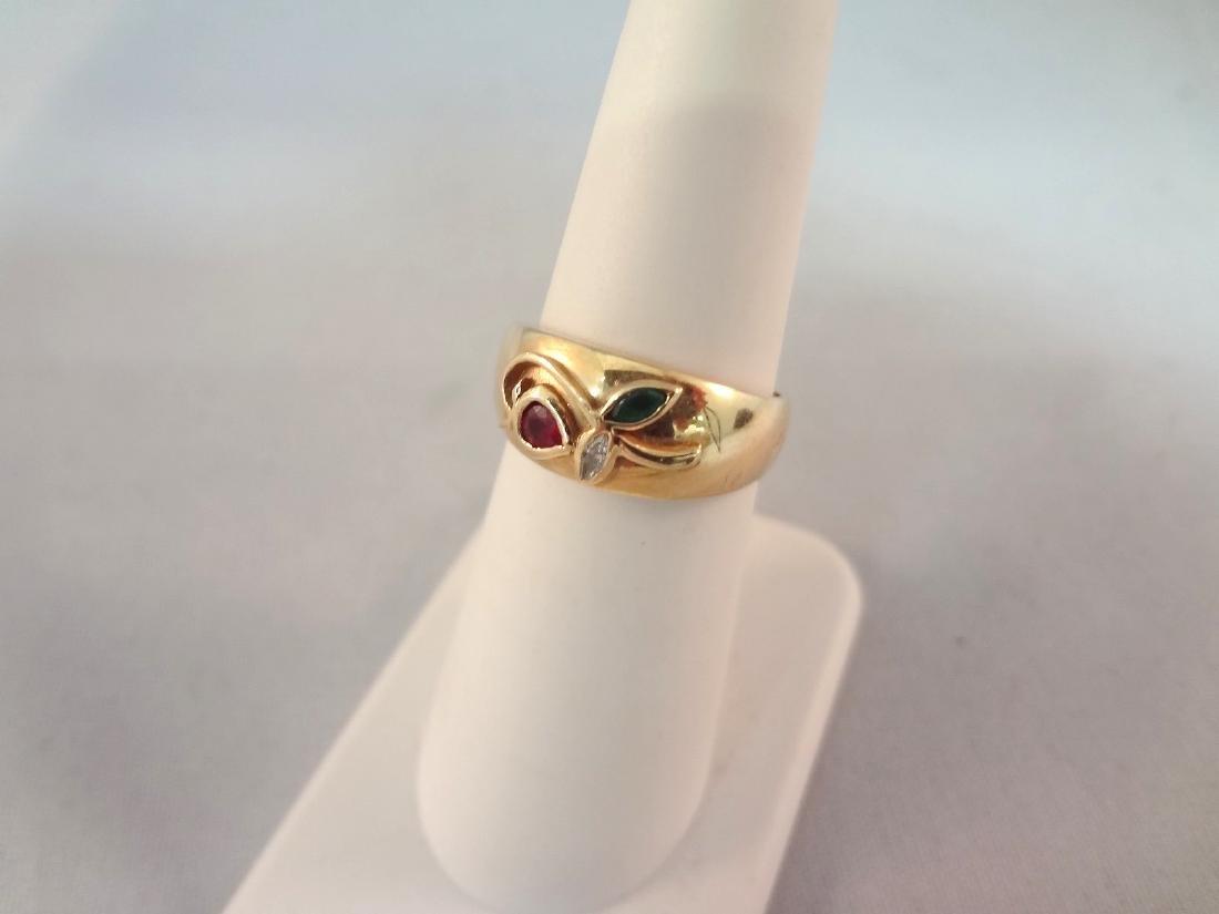 18k Gold Ruby, Emerald, Diamond Ring
