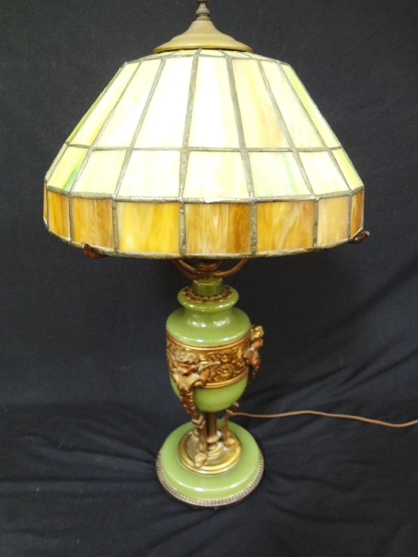 Jadeite Brass And Slag Glass Table Lamp