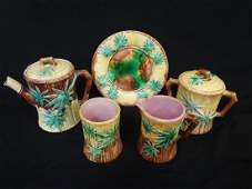 Griffin, Smith, and Hall Majolica Bamboo Etruscan Group