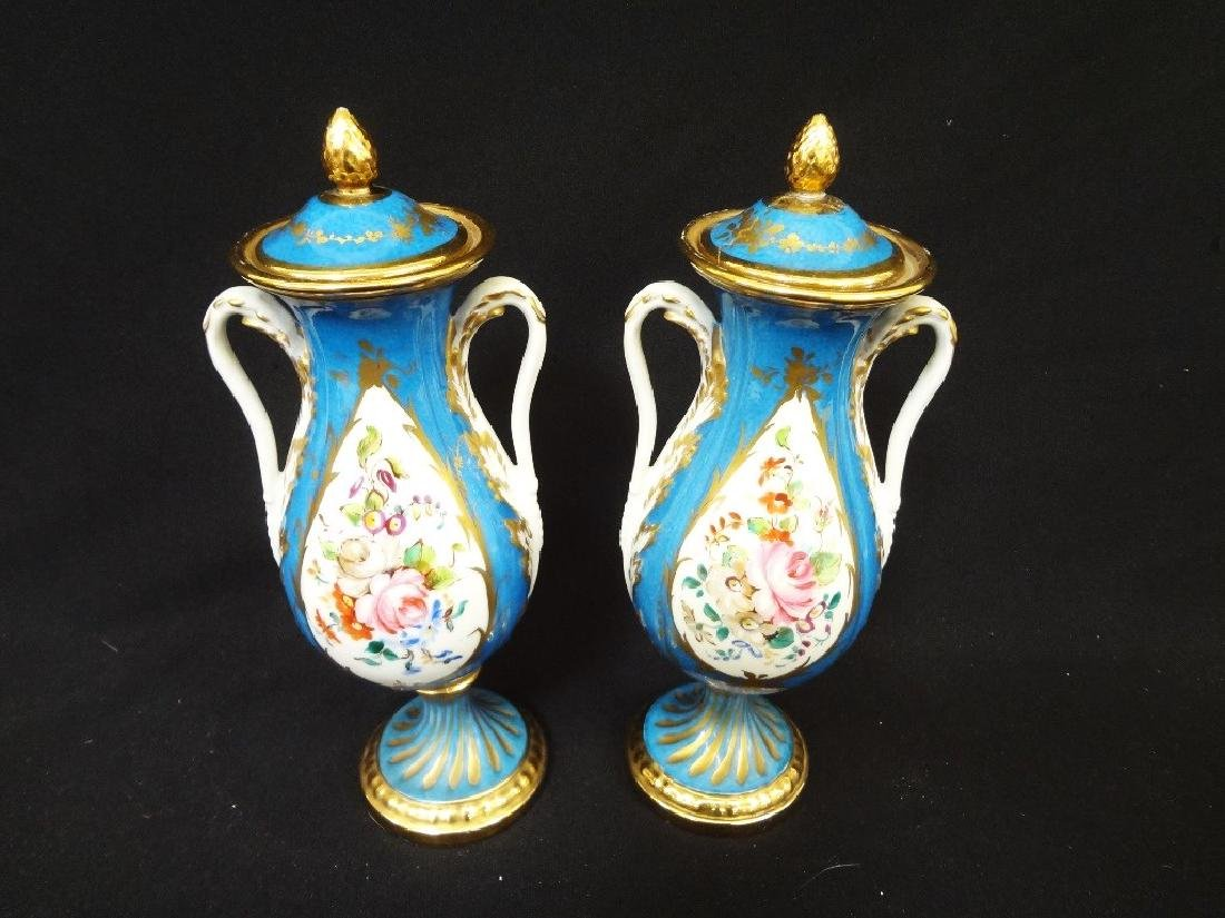 Sevres French Porcelain Pair of Covered Urns Acorn