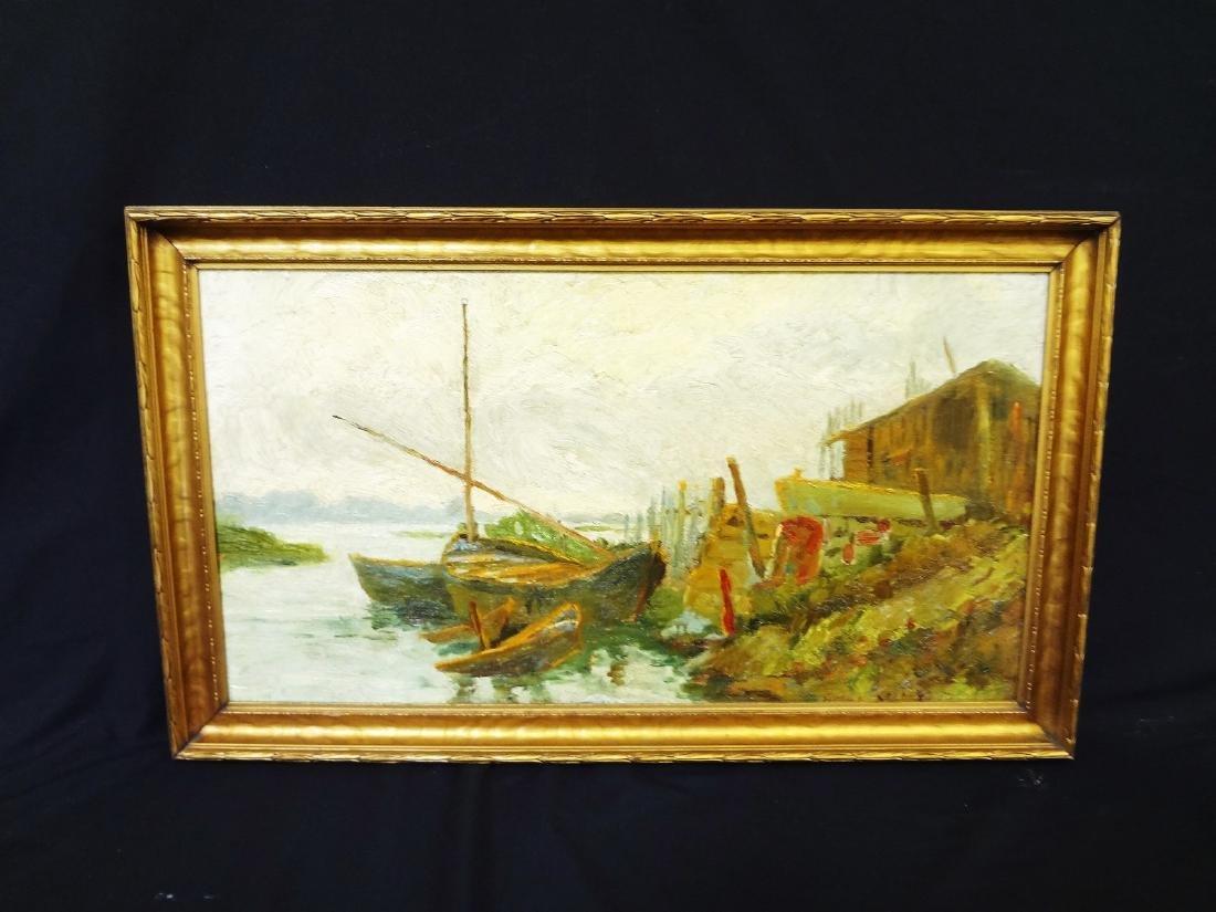 Original Oil Painting on Board Boat Water Landscape