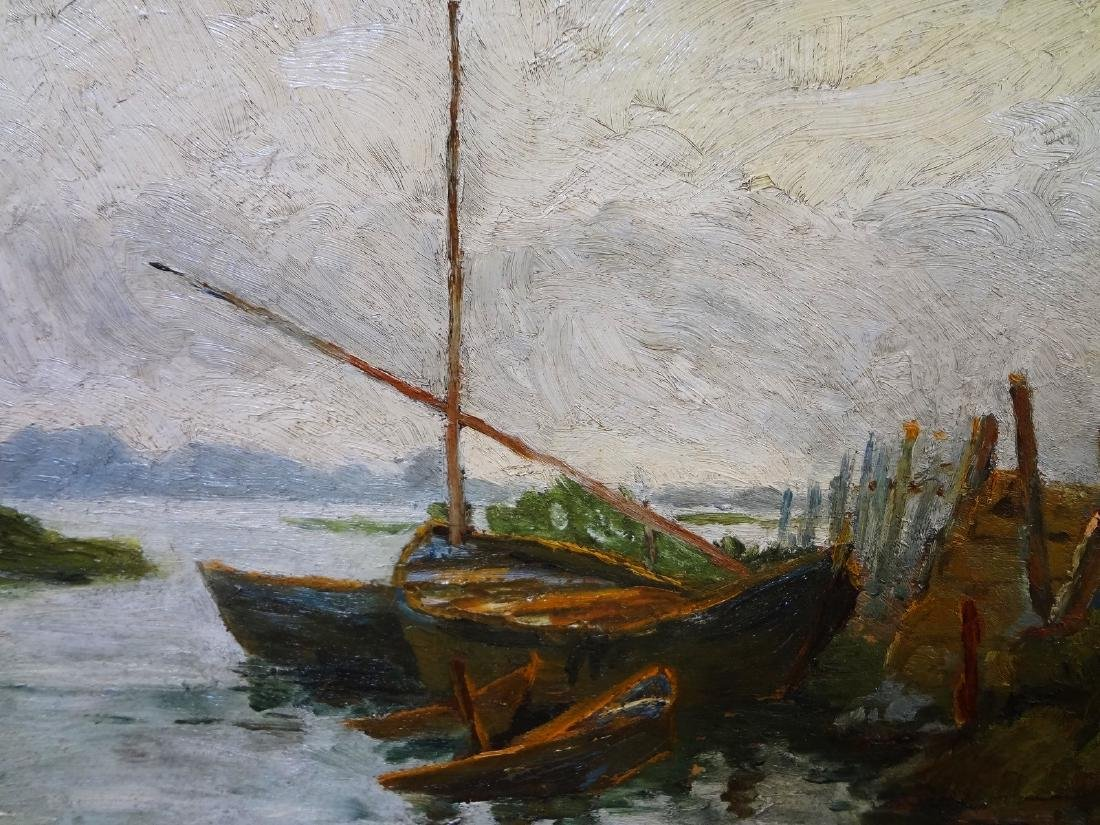 Original Oil Painting on Board Boat Water Landscape - 3