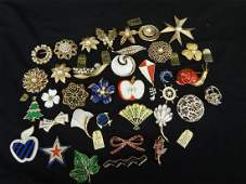 37 Trifari Jewelry Enamel and Pearl Brooches