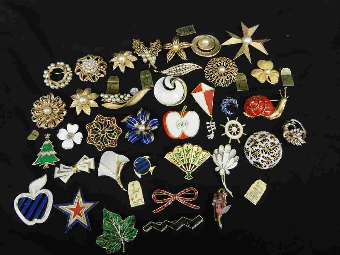 (37) Trifari Jewelry Enamel and Pearl Brooches