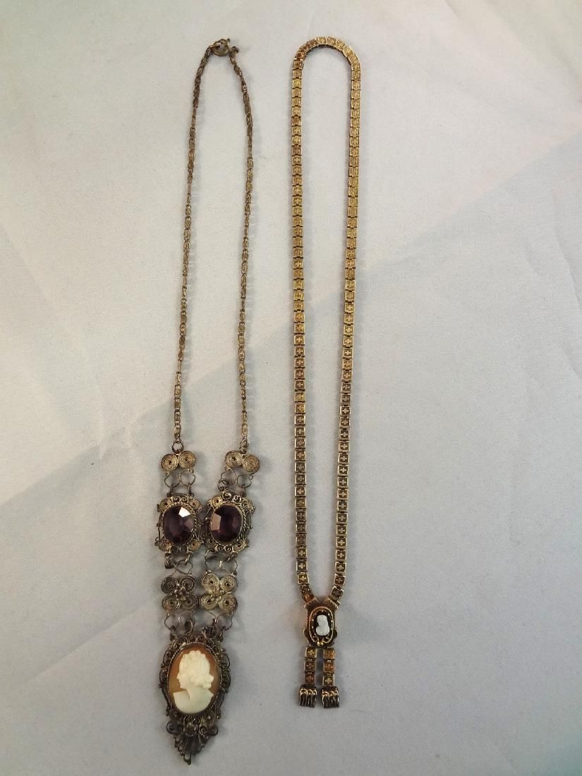 (2) Victorian Gold Filled Mourning Necklaces with