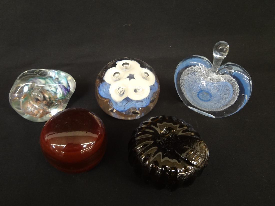 (5) Art Glass Paperweights: DR, Art Studio, JW