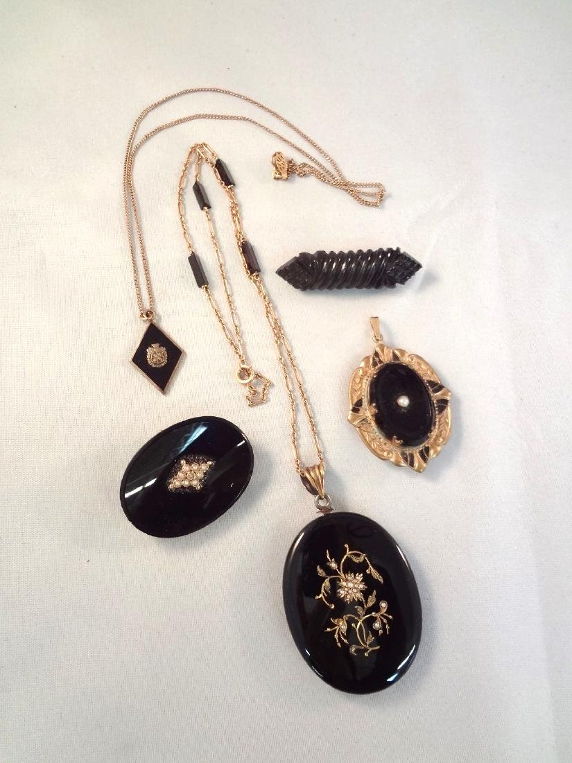 Victorian Black Vulcanite Mourning Gold Filled Jewelry