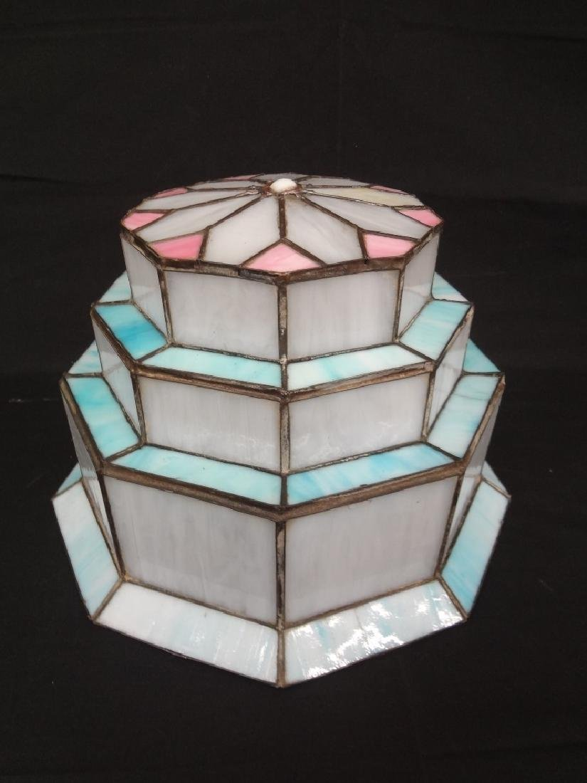Art Deco Style Slag Glass Tiered Lamp Shade