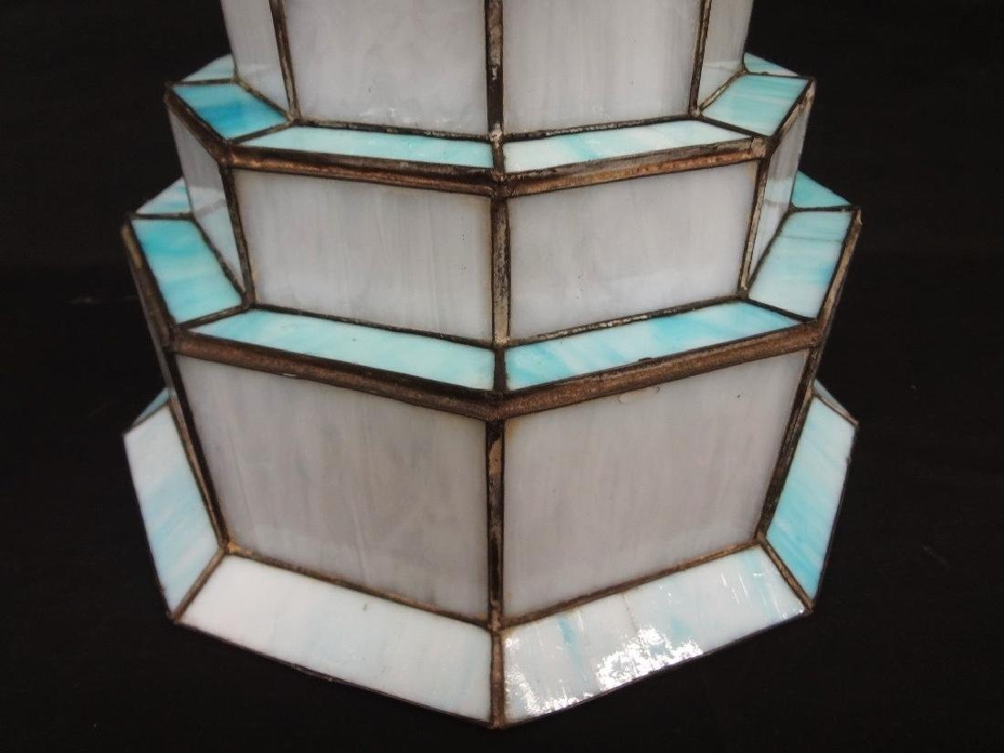 Art Deco Style Slag Glass Tiered Lamp Shade - 3