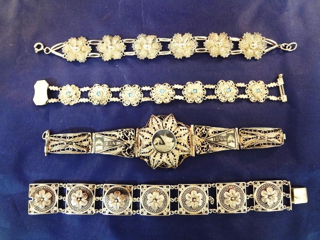 (4) High Filagree Sterling Silver Bracelets