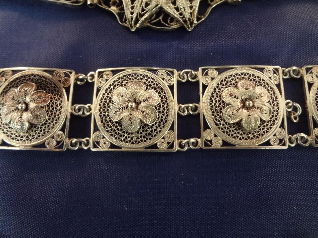 (4) High Filagree Sterling Silver Bracelets - 2