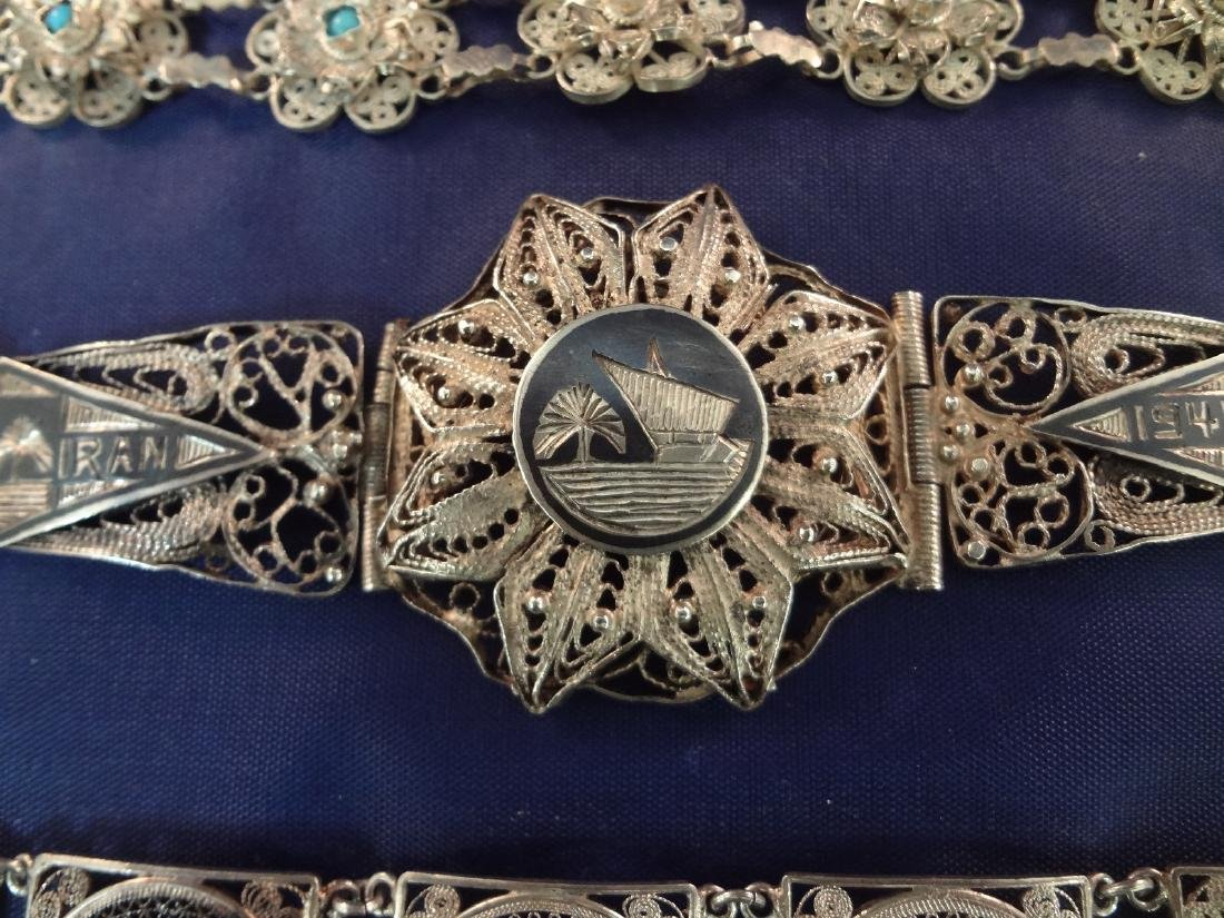(4) High Filagree Sterling Silver Bracelets - 3