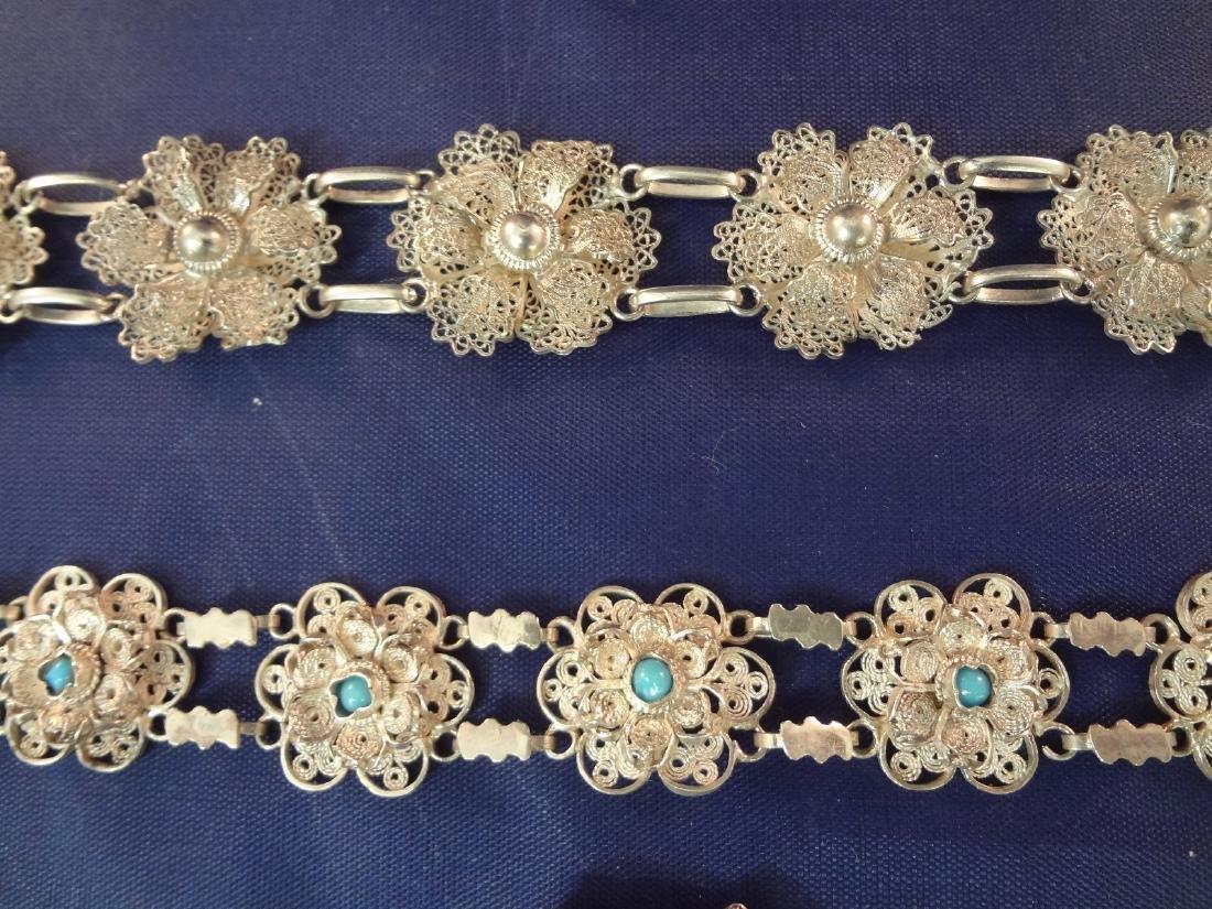 (4) High Filagree Sterling Silver Bracelets - 4