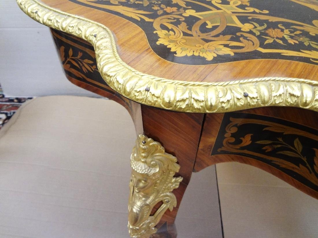 Louis XV Ormolu Mounted Inlaid Marquetry Center Table - 6