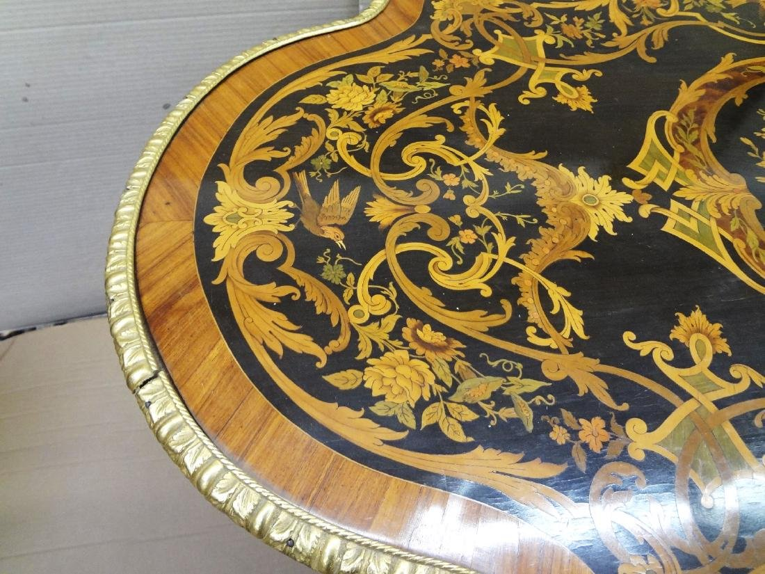 Louis XV Ormolu Mounted Inlaid Marquetry Center Table - 9
