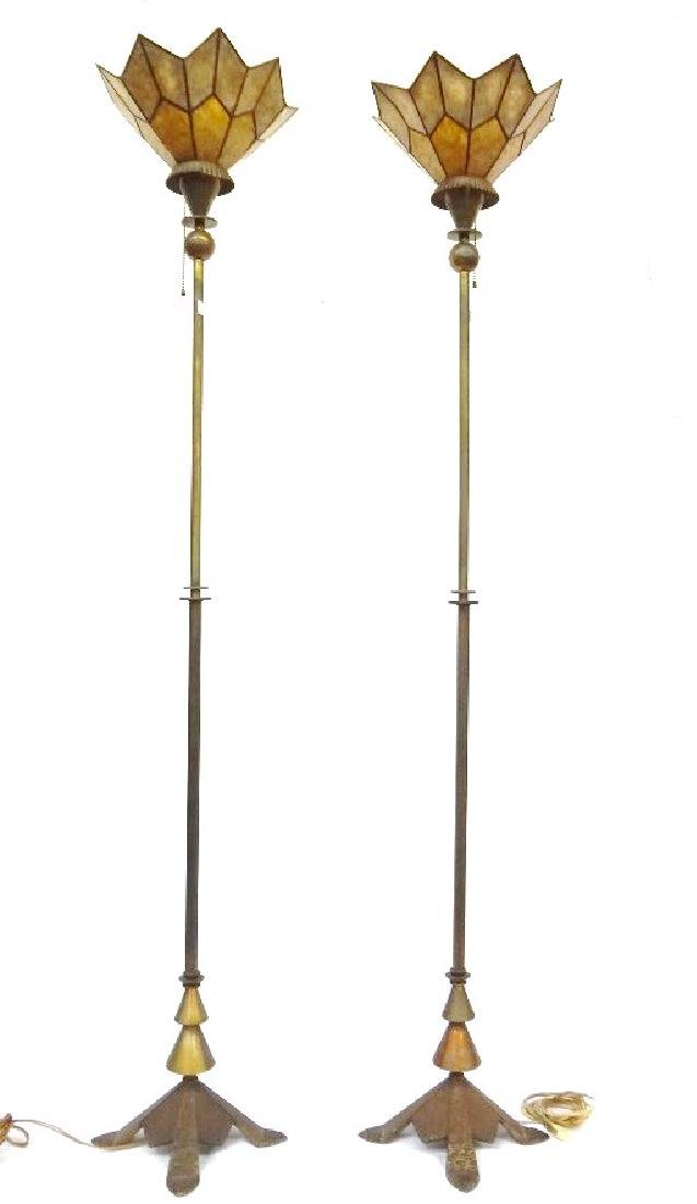 Pair Mica Shade Hammered Brass Floor Lamps