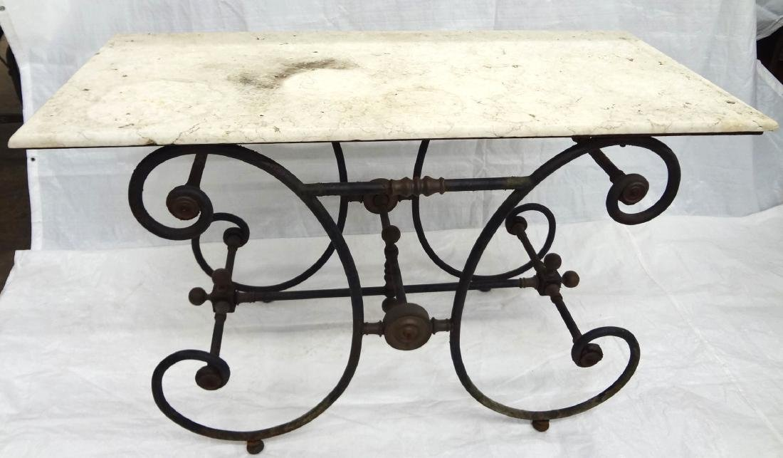 Brass Mounted Cast Iron Marble Top Baker's Table