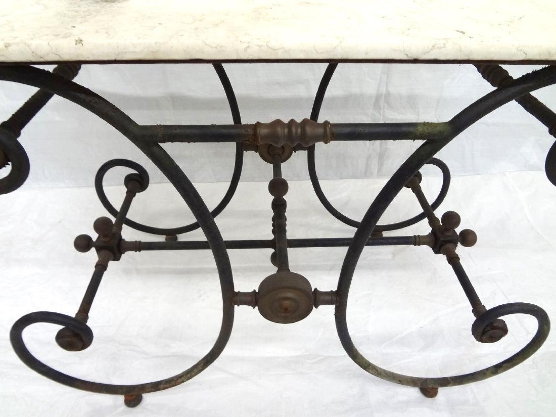 Brass Mounted Cast Iron Marble Top Baker's Table - 2