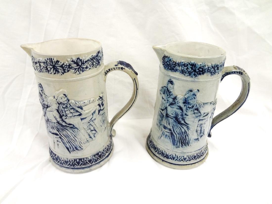 Whites Utica Pair Salt Glaze Stoneware Pitchers