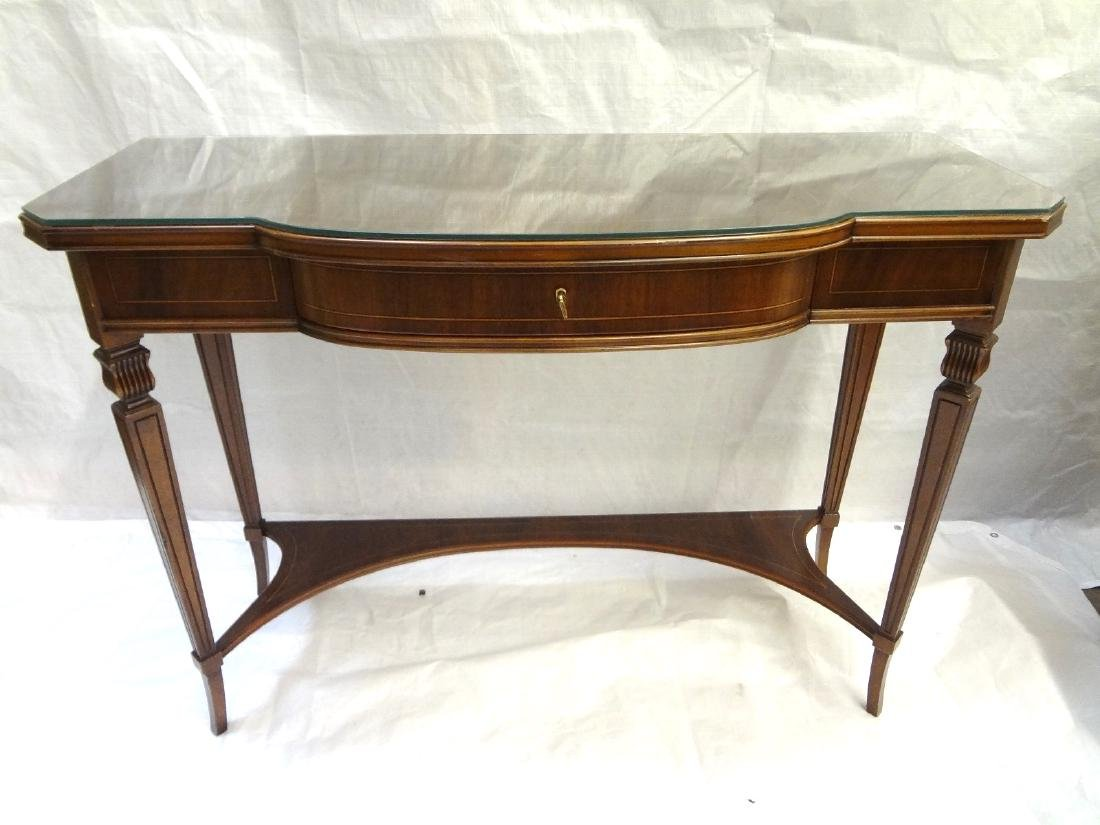 Pair Federal Style Glass Top Console Tables