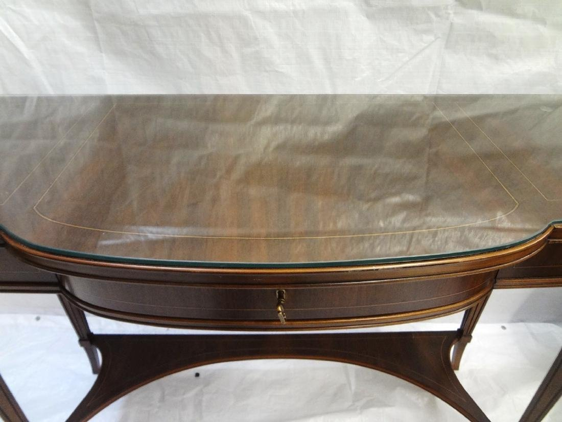 Pair Federal Style Glass Top Console Tables - 2