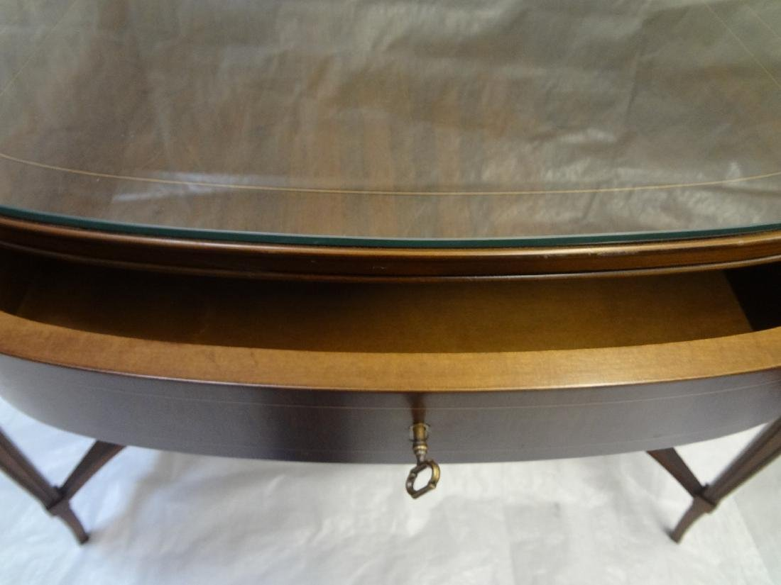 Pair Federal Style Glass Top Console Tables - 4