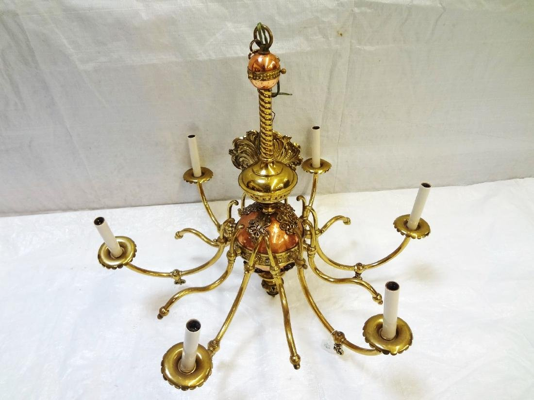 Copper and Brass Six Arm Chandelier