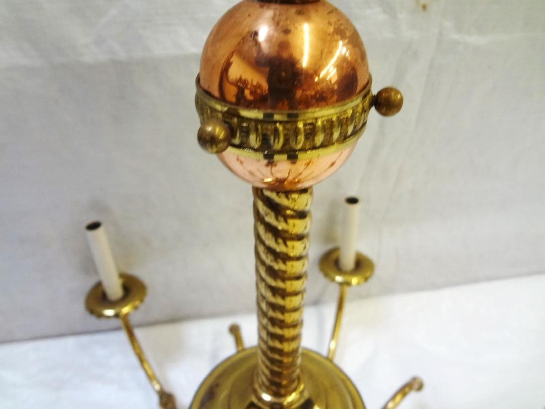 Copper and Brass Six Arm Chandelier - 3