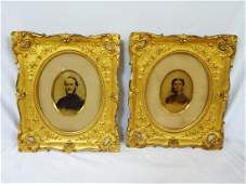 Civil War Captain and Wife Hand Colored Portraits in