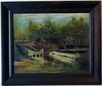 1935 Oil On Canvas Pennsylvania Rural Landscape