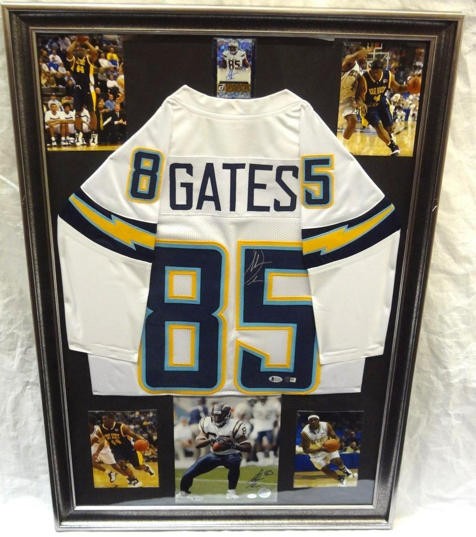 Antonio Gates Autographed Jersey LOA Beckett Framed