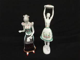 Pair Hollohaza Kezzel Festett Figurines