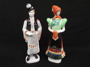 Pair of Hollohaza Man and Woman Figurines