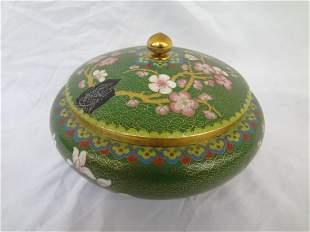 Cloisonne Powder Jar with Lid