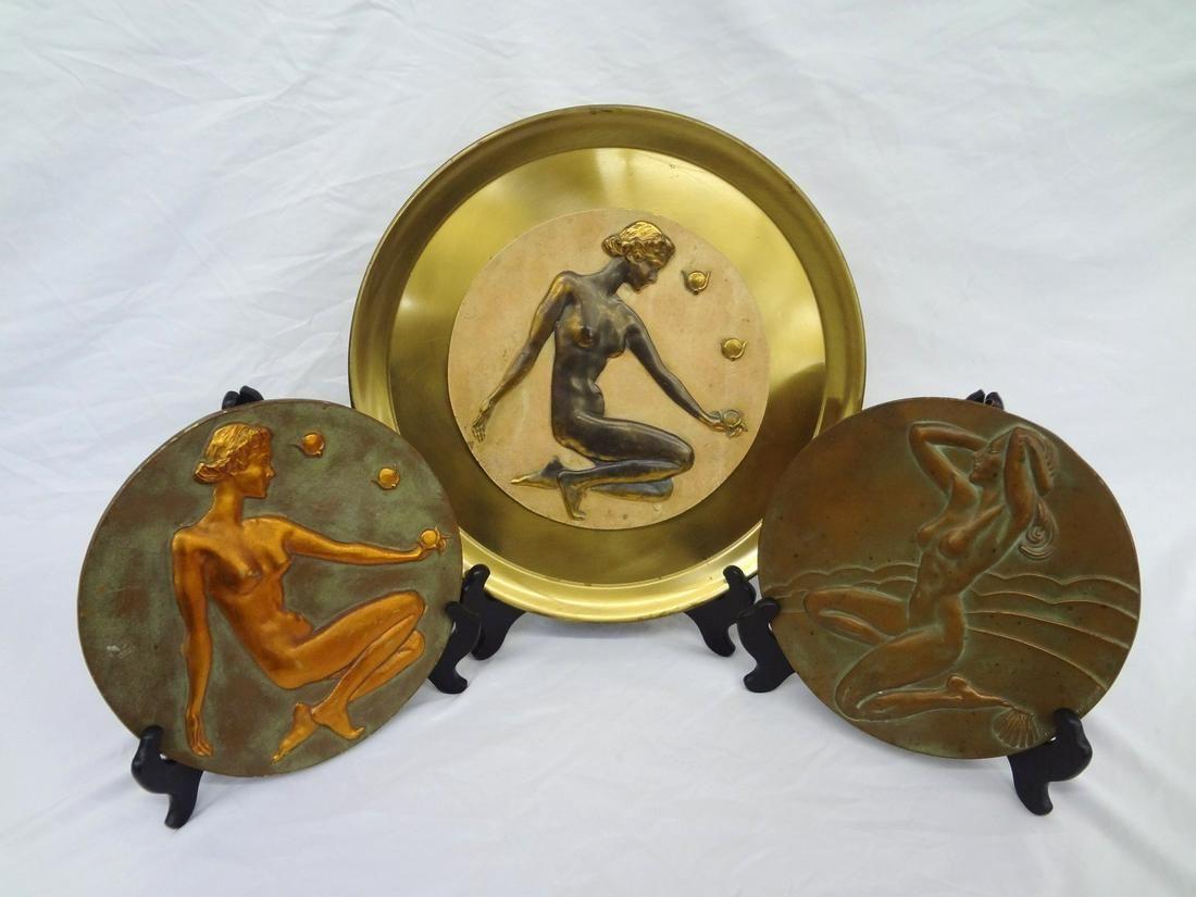 (3) McClelland Barclay Bronze Art Deco Plaque Discs