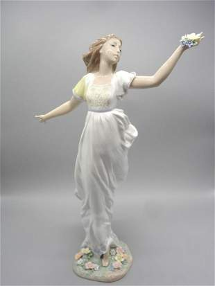 Lladro 1999 6649 Woman With Flowers No Box