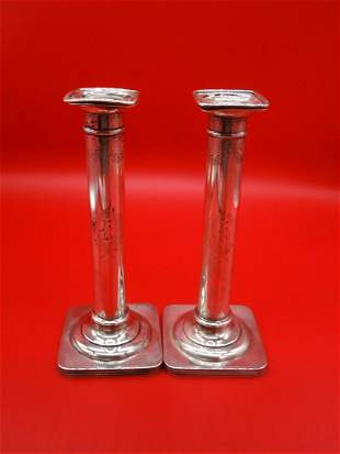 William B Durgin Co Sterling Silver Candle Sticks A
