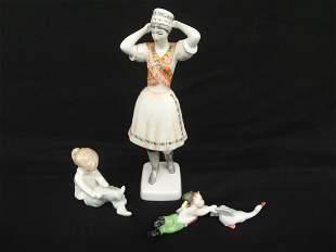 2 Herend Hungary 1 Hollohaza Figurines