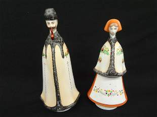 Pair of Hungarian Porcelain Figurines Man and Woman