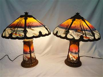 Pair of Arts and Crafts Era Reverse Hand Painted Lamps
