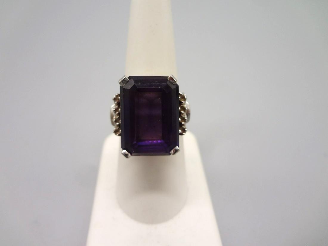 18K White Gold Emerald Cut Sapphire 16x12mm and Diamond