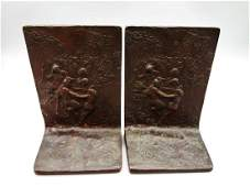 Pair of Art Nouveau Gorham Bronze Book Ends Satyrs and