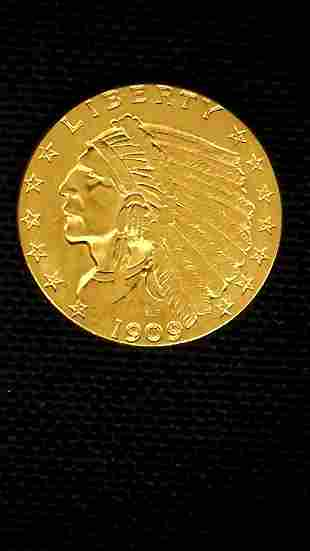 1909 Indian Head Quarter Eagle Two and a Half Gold Coin