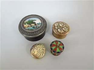 (4) Small Art Nouveau Trinket/Pill Boxes