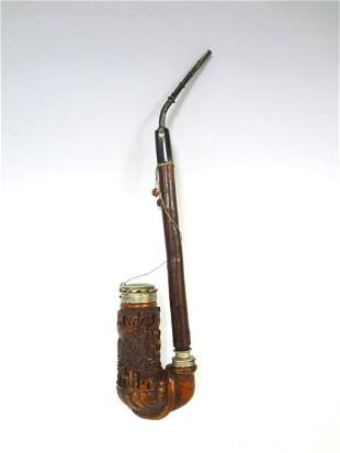 Bavarian Black Forest Carved Long Pipe