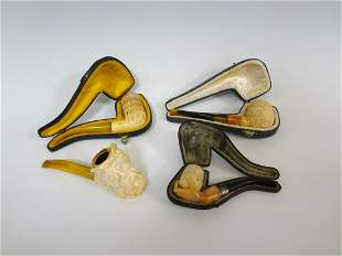 (4) Meerschaum Pipes Three With Cases